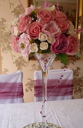 FCM1 Flower centrepiece in a Martini glass
