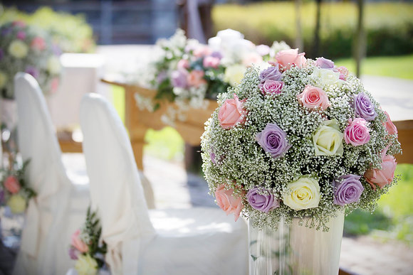 Wedding flowers on stands