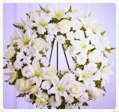 Funeral wreath - white roses,lillies, carnations