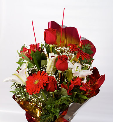 FB1- Roses lily and gerbra flower bouquet
