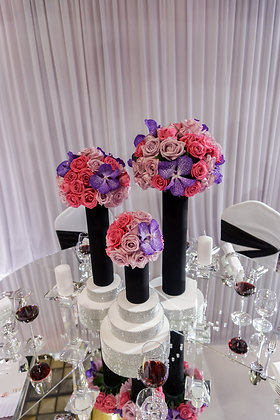 T107-Red and purple flower centrepieces