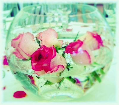 SH16 Fish bowl flower rose centrepieces