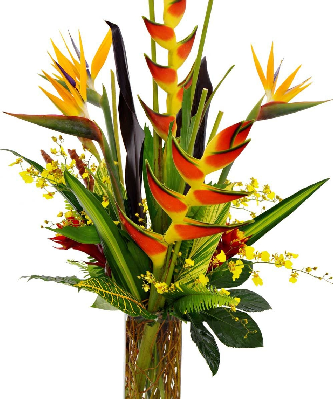 TFD2Tropical flower display in orange and yellow