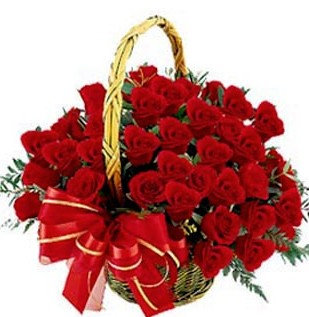 24 roses in a basket