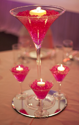 CG1 Martini gel centrepiece and candles