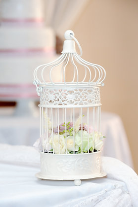 Simple bird cage with flowers