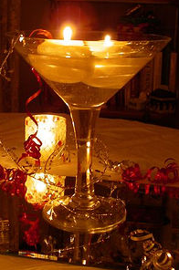 Martini  candle glass display