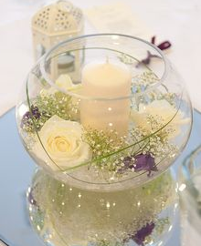 Fish bowl candle centrepiece
