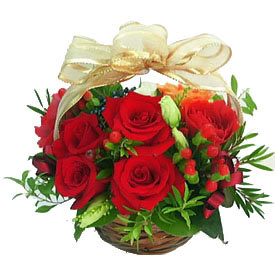 Small red roses basket