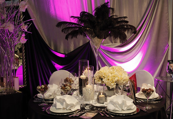 Ostritch feather and flower centrepieces