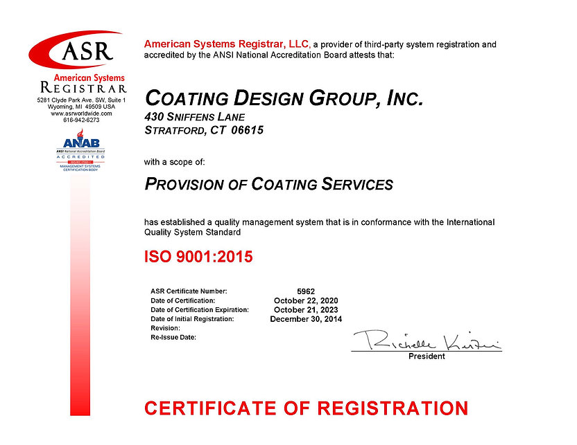 5962 Coating Design Group ISO 9001 Certi