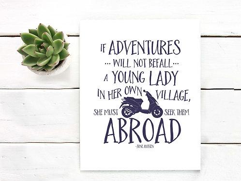 Jane Austen quote, Jane Austen art print, printable art, art to print and frame