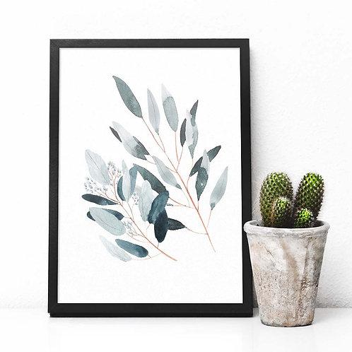 eucalyptus, grey, printable art, wall art, art print, printable, botanical, art, decor, foliage