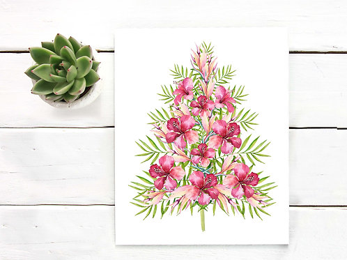 Christmas decor watercolor Tropical  decor print