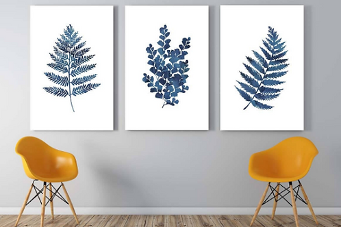 Set of three blue ink fern printables | botanical wall art | ink blue ferns, Hamptons style, coastal decor