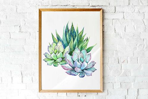 Printable wall art, cactus succulents art print, botanical art