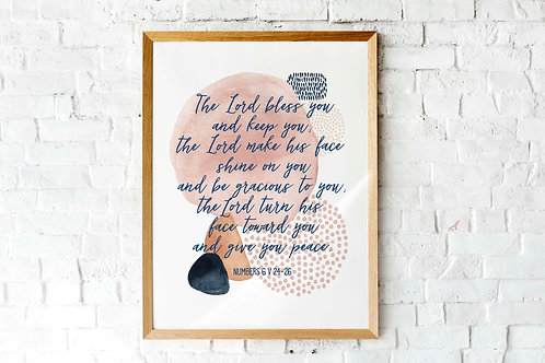 The Blessing | Numbers 6 | Modern Watercolor | printable art