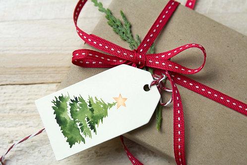 Watercolor printable Christmas tree gift tags