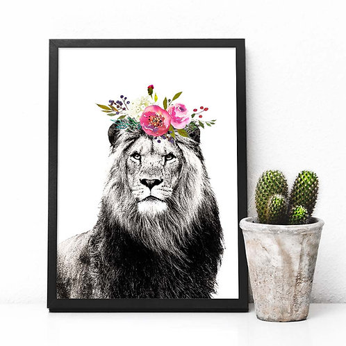 Lion with watercolor flower crown | Printable art