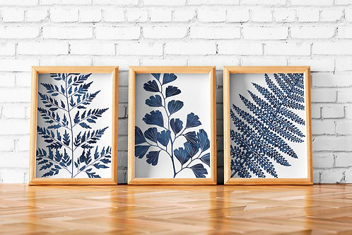watercolor, ferns, printable art, set of three, wall art, art prints