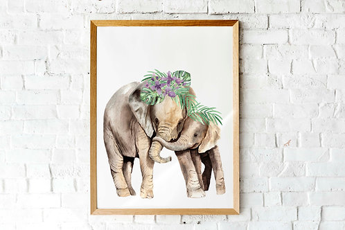Elephant Mama and Baby | Printable posters | Kids Room watercolor