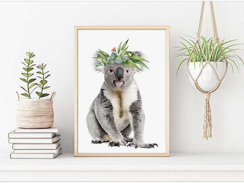 Koala art print, eucalyptus flower crown garland, printable art
