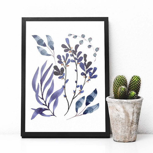 Blue ink Watercolor foliage leaf wall art print Printable art navy abstract plant tropical leaf botanical illustration Instan