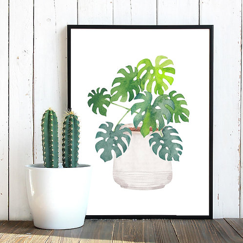Watercolor Monstera house plant foliage  | Printable art green painting