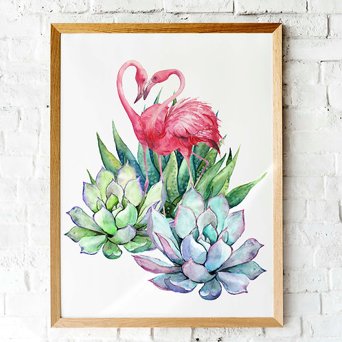 Flamingos and succulents Watercolor | Printable art flamingo cactus succulent