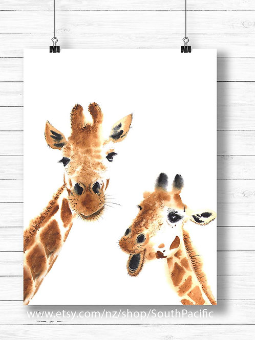 Watercolor giraffe friends, nursery decor, art to print and frame, printable art