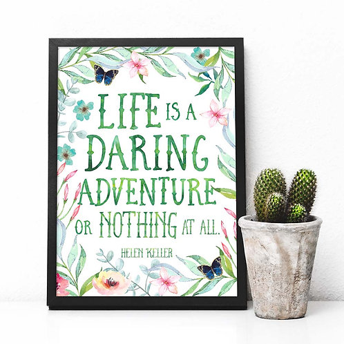 Life is a daring adventure or nothing, helen keller quote, watercolor