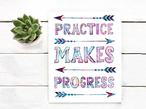 Practice makes progress | Watercolor | Printable classroom art, artist poster print