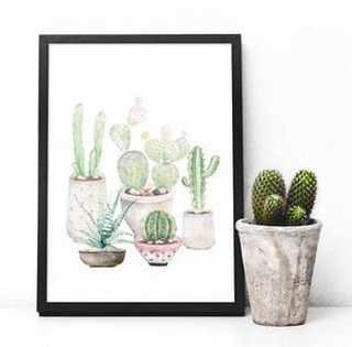 watercolor, potted plants, hand painted, watercolor cactus, cacti, gallery wall, printable art, south pacific prints, digital art, instant download, wall art, instant art, scripture, watercolor