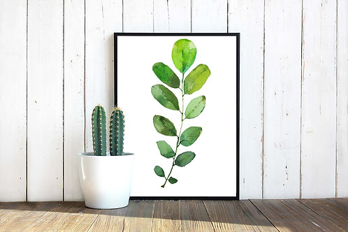 botanical watercolor art print, crazy plant lady gift, leaves, green