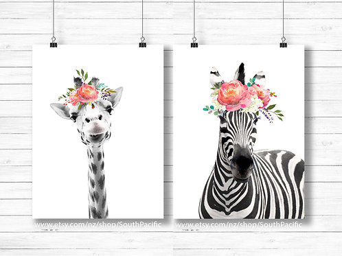 Set of two Giraffe and Zebra prints. coral watercolor flower crowns art print