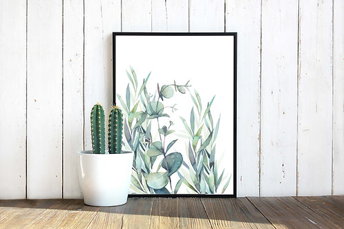 Watercolor eucalyptus leaves, printable art, green watercolor, wall art, art print