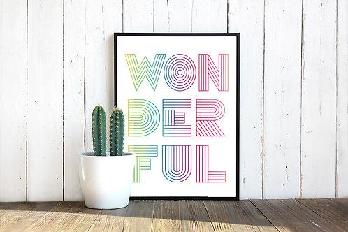 WONDERFUL, art to print, typography poster, printable art, art to print and frame, rainbow