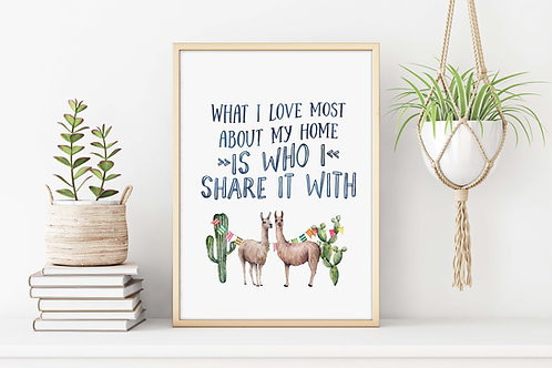 Watercolor Alpacas What I love about my Home  | Printable poster