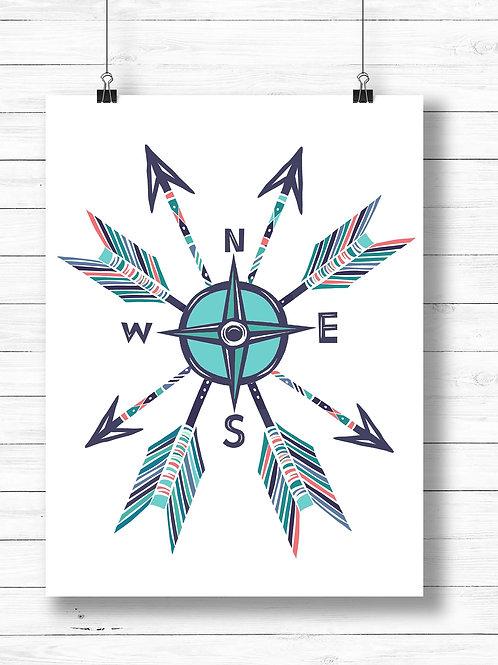 Compass arrows art print | Printable art, artist poster print, travel art