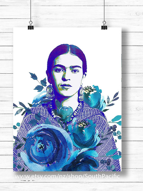Bue Frida Kahlo, watercolor, printable art, print and frame, blue ink