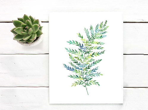 Fern, watercolor, botanical art, artist poster prints, green