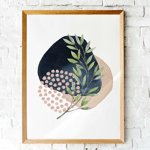 modern watercolor abstract printable art navy blush