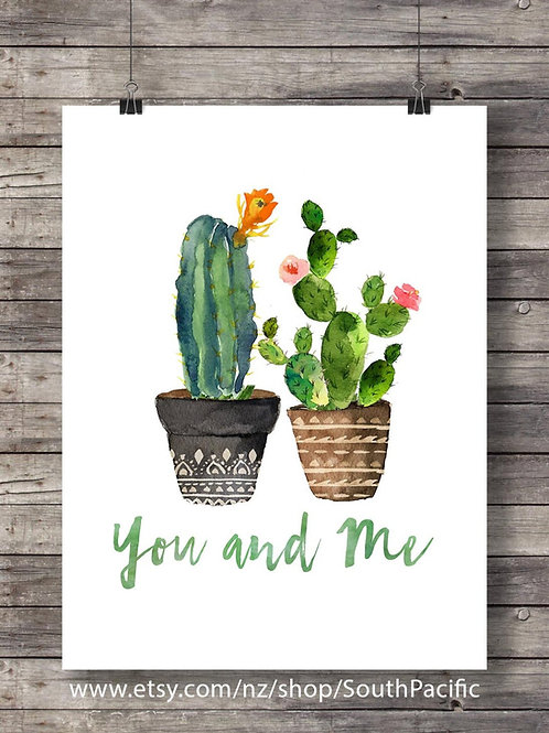 Cacti art print Printable art Watercolor cactus painting you and me botanical decor Printable wall art watercolor cacti art
