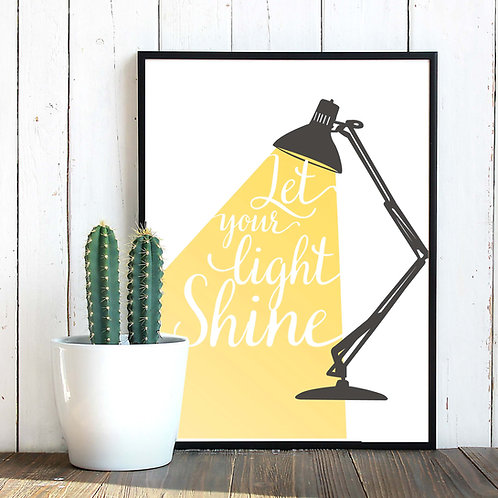 Let your light shine printable scripture typography calligraphy lettering wall art print