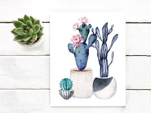 Cacti art print, Pastel Watercolor cactus, Printable art