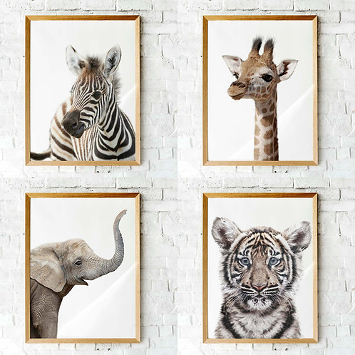Set of 4 Photographic baby animal nursery art printables