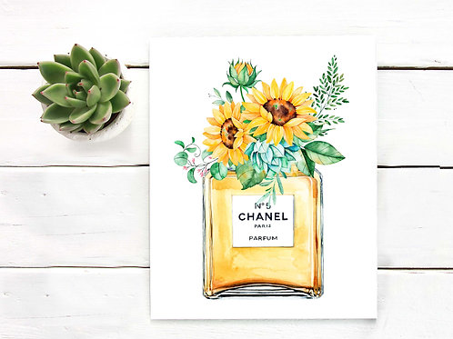 Watercolor sunflower painting perfume bottle Chanel