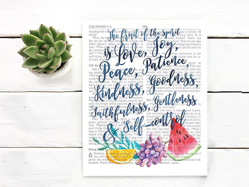 Fruit of the Spirit | Bible page | Watercolor fruit | Printable art