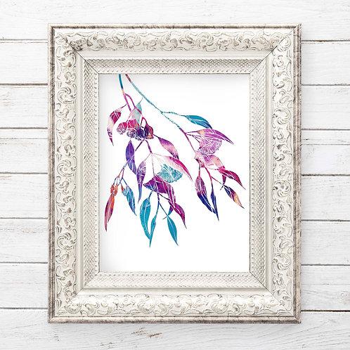 Rainbow Watercolor Eucalyptus flowers | printable art