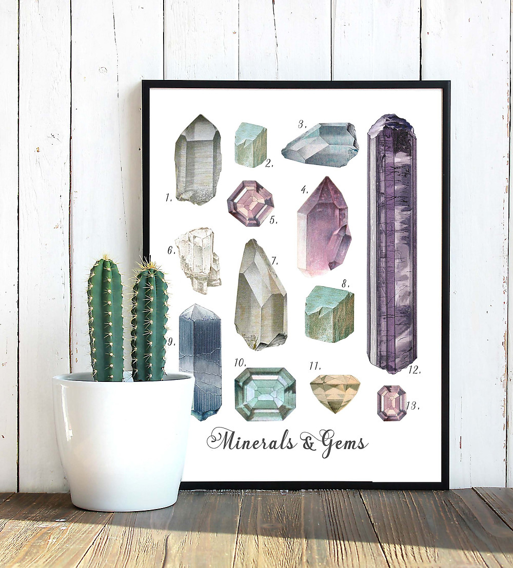 printable art, art to print and frame, crystals, gemstones, minerals, crystals print, gemstones art